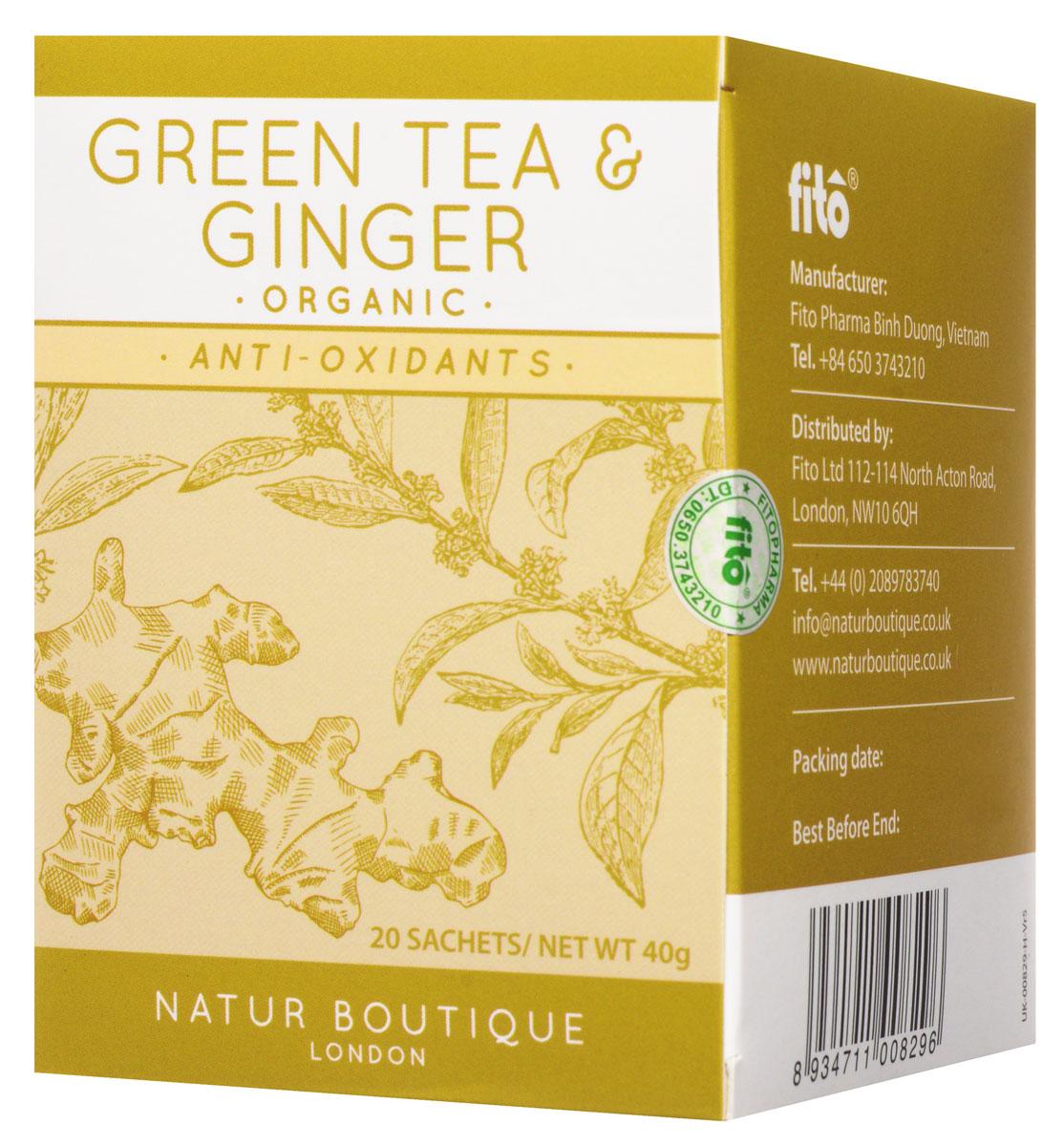 Natur Boutique Green Tea&Ginger Organic Tea органический зеленый чай с имбирем, 20 пакетиков256Органический зеленый чай Natur Boutique Green Tea&Ginger Organic Tea подарит вам отличный освежающий вкус. Выращенный на лучших северных плантациях Вьетнама с использованием самых высококачественных удобрений, он обладает прекрасными целебными свойствами и великолепно сочетает в себе превосходный аромат зеленого чая и имбиря. Производство ведется без использования химических добавок и ароматизаторов, что помогает достигать потрясающего натурального вкуса.В его состав входят только зеленый чай и имбирь. Добавление каких-либо примесей недопустимо. Данный товар имеет огромную пользу для каждого человека, ведь употребление этого чая поспособствует повышению умственных и физических показателей организма, а также значительному улучшению его тонуса. Повышенное содержание антиоксидантов позволяет достигать великолепных результатов и очищать организм от вредоносного воздействия загрязнённой окружающей среды. Natur Boutique также прекрасно восстанавливает метаболизм и корректирует вес, что самым лучшим образом отразится на здоровье каждого человека, а содержащийся в нем имбирь улучшает пищеварение, освежает и отлично помогает при простуде.