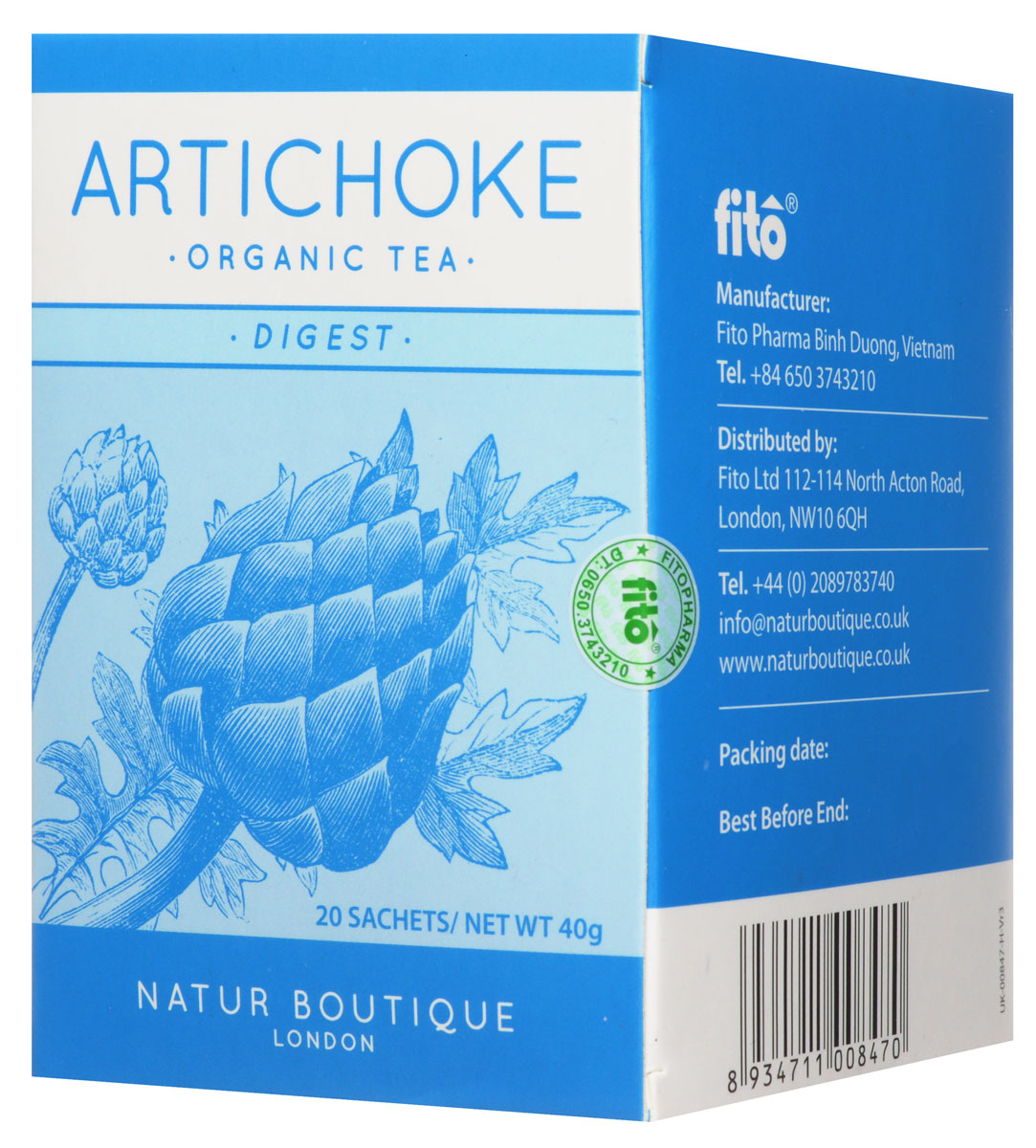 Natur Boutique Аrtichoke Organic Tea органический чай с артишоком, 20 пакетиков250Natur Boutique Аrtichoke Organic Tea - идеальный выбор для желающих улучшить пищеварение и состояние кожи, поддержать функции печени и безопасно очистить организм. Это первый чай с натуральным органическим артишоком (соцветия, стебли и листья органического артишока). Необычно новый вкус, чем то схож с земляным зеленым чаем. Артишок обладает оздоравливающими свойствами, содержит в себе комплекс веществ (флавоноиды, цинарин, инулин др.), которые положительно влияют на здоровье желудочно - кишечного тракта.Не пейте этот чай, если у вас камни в желчном пузыре. Также не рекомендовано принимать при индивидуальной чувствительности к компонентам продукта. Беременным, женщинам в период лактации и детям принимать рекомендуется только по рекомендации и под присмотром врача.