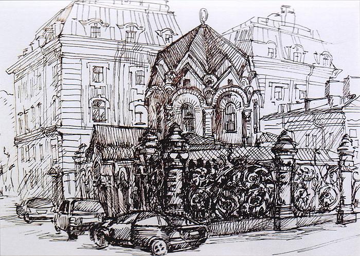 Дизайнерская открытка.  На лицевой стороне изображение одной из центральных улиц города Санкт-Петербурга.  Набросок, скетч.   Автор рисунка - Анастасия Панкова. Размер открытки: 10.5 х 15 см.