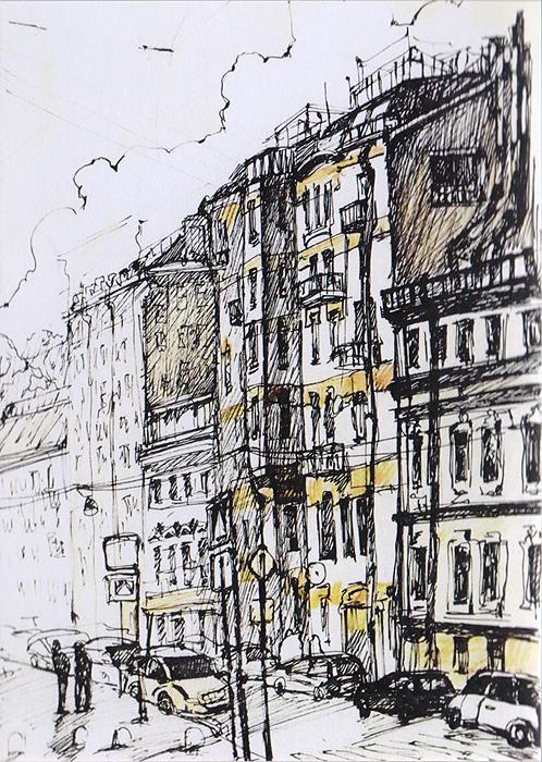 открытка улицы санкт петербурга скетч 5 Открытка Улицы Санкт-Петербурга. Скетч 1