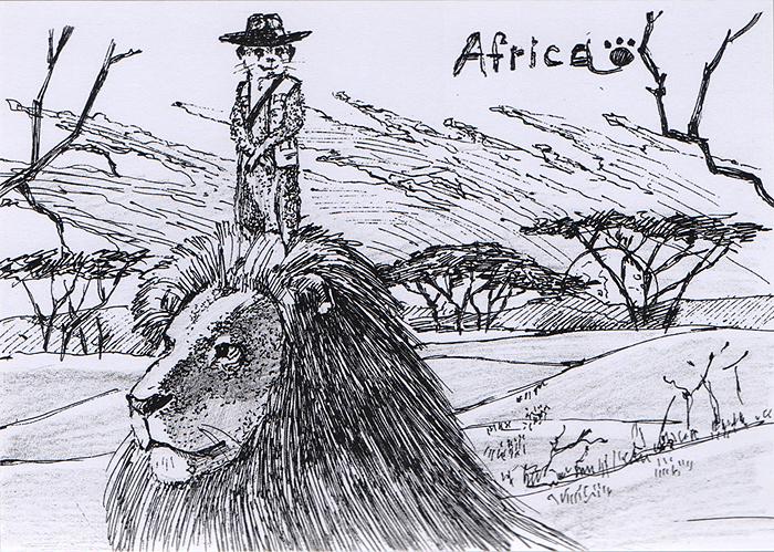 Открытка Animals countries. АфрикаОТКР №96Дизайнерская открытка. Дизайнерская открытка. На лицевой стороне изображение мангуста и льва на фоне африканской саванны. Набросок, скетч.Автор рисунка - Анастасия Панкова.Размер открытки: 10.5 х 15 см.