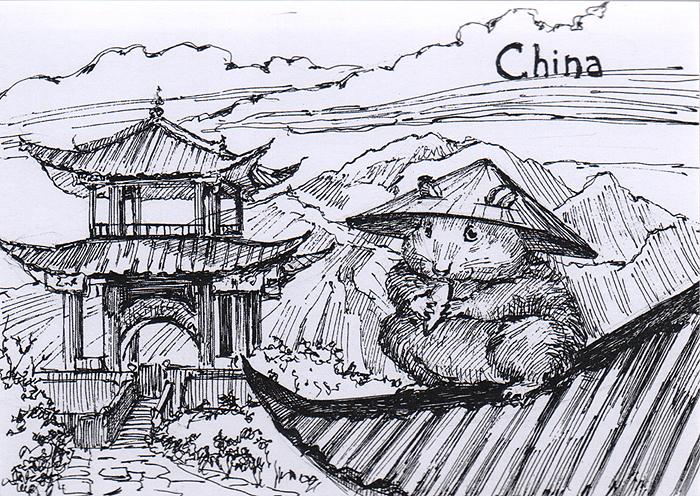 Открытка Animals countries. Китай открытка крокодил автор варя колесникова