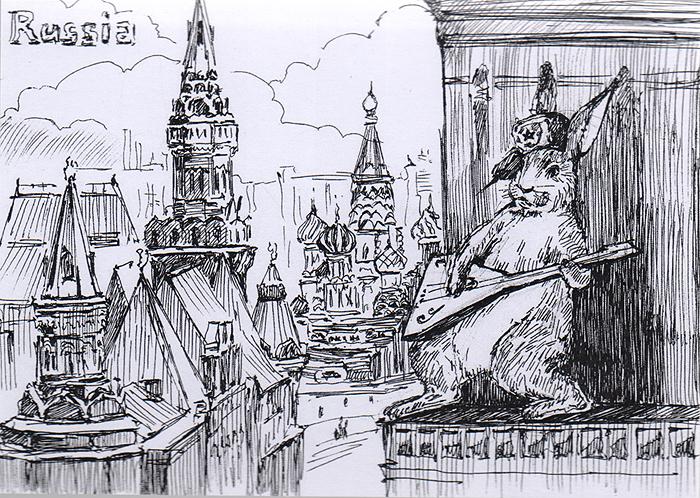 Открытка Animals сountries. РоссияОТКР №104Дизайнерская открытка. На лицевой стороне изображение зайца на фоне достопримечательностей Москвы. Набросок, скетч.Автор рисунка - Анастасия Панкова.Размер открытки: 10.5 х 14.8 см.