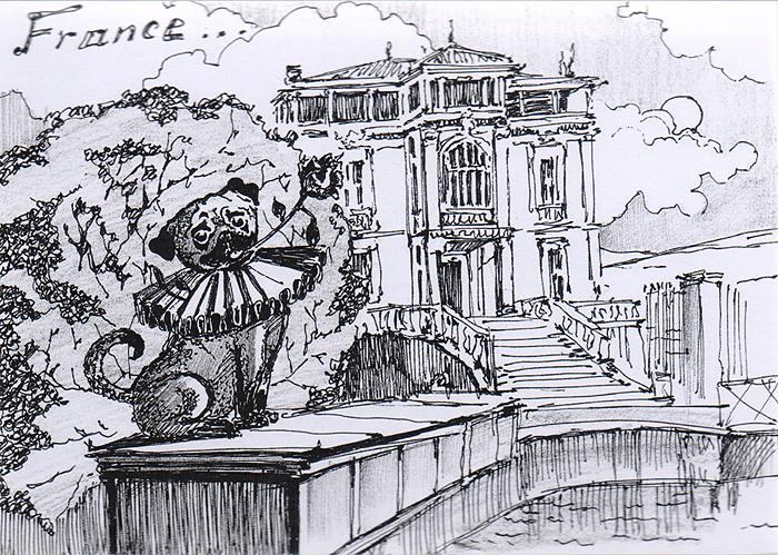 Открытка Animals сountries. Франция722005Дизайнерская открытка.На лицевой стороне изображение мопса на фоне достопримечательностей Парижа. Набросок, скетч.Автор рисунка - Анастасия Панкова. Размер открытки: 10.5 х 15 см.