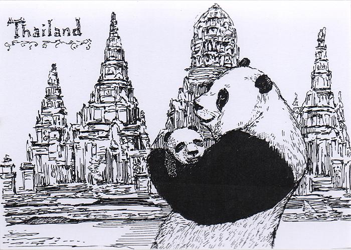 Дизайнерская открытка.  На лицевой стороне изображение панды на фоне пагоды. Набросок, скетч.  Автор рисунка - Анастасия Панкова.  Размер открытки: 10.5 х 15 см.