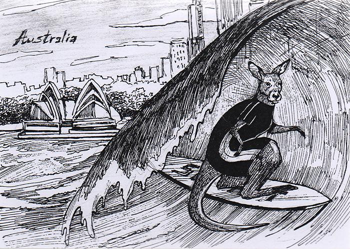Открытка Animals сountries. Австралия115783Дизайнерская открытка.На лицевой стороне изображение кенгуру на фоне достопримечательностей Сиднея. Набросок, скетч.Автор рисунка - Анастасия Панкова. Размер открытки: 10.5 х 15 см.
