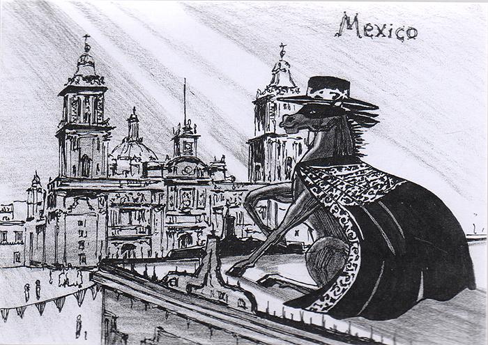 Открытка Animals сountries. Мексика40684Дизайнерская открытка. На лицевой стороне изображение коня на фоне достопримечательностей Мехико. Набросок, скетч. Автор рисунка - Анастасия Панкова.Размер открытки: 10.5 х 15 см.