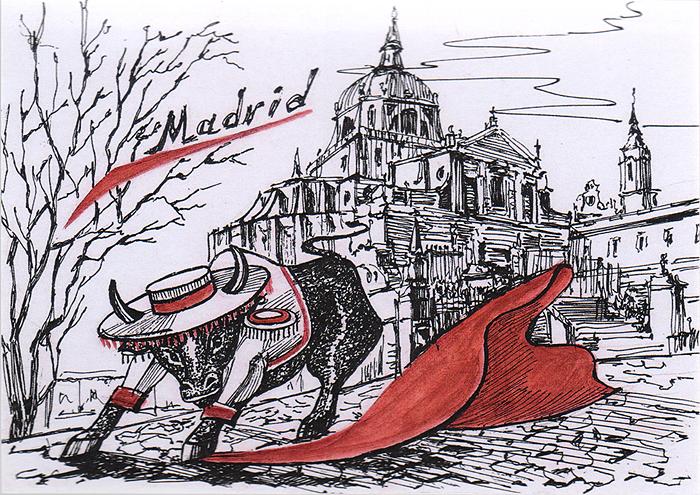 Открытка Animals сountries. ИспанияОТКР №254Дизайнерская открытка. На лицевой стороне изображение быка на фоне достопримечательностей Мадрида. Набросок, скетч. Автор рисунка - Анастасия Панкова.Размер открытки: 10.5 х 15 см.