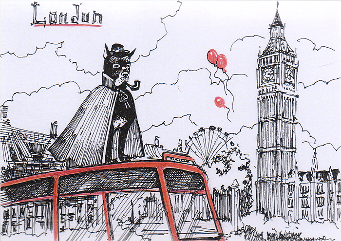 Открытка Animals сountries. АнглияОТКР №93Дизайнерская открытка. На лицевой стороне изображение дога на фоне достопримечательностей Лондона. Набросок, скетч. Автор рисунка - Анастасия Панкова.Размер открытки: 10.5 х 15 см.