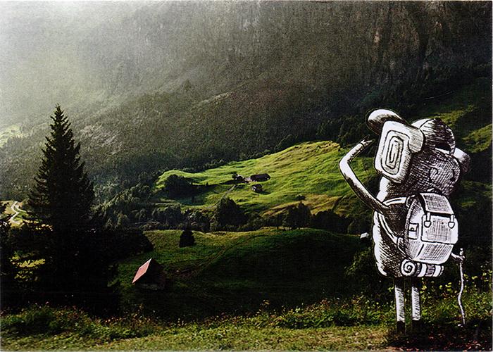 Открытка Путешествие41716Дизайнерская открытка. На лицевой стороне изображение глядящего вдаль путешественника. Набросок включает себя скетч и элементы компьютерной графики . Автор рисунка - Роман Рощин.Размер открытки: 10.5 х 14.7 см.