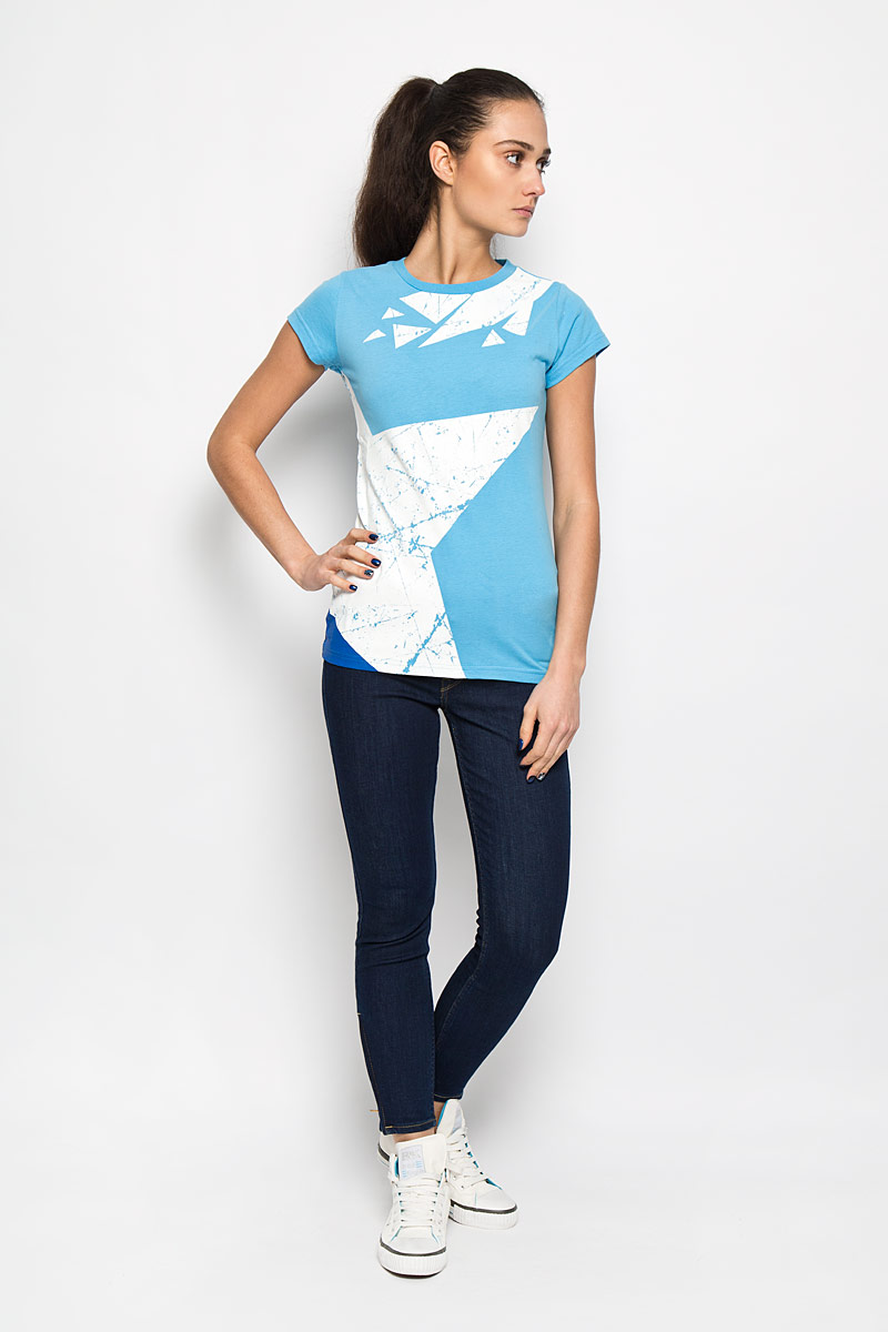 цена Футболка женская Robin Ruth Молодежка, цвет: голубой, белый. MV006. Размер XS (42) онлайн в 2017 году