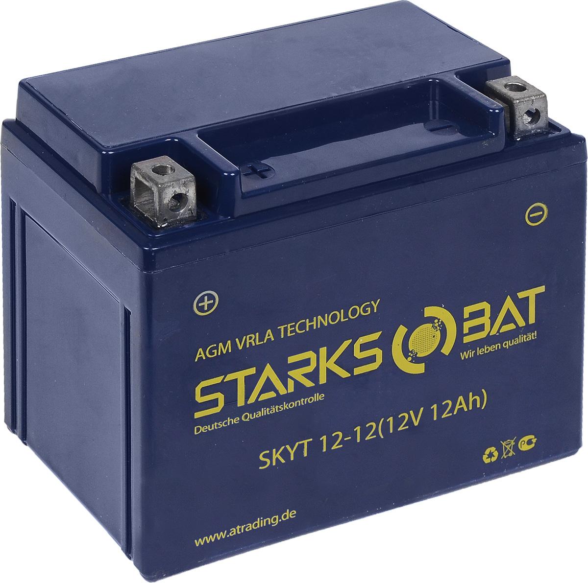 Батарея аккумуляторная для мотоциклов Starksbat. YT 12-12 (YTX14-BS)YT 12-12Аккумулятор Starksbat изготовлен по технологии AGM, обеспечивающей повышенный уровень безопасности батареи и удобство ее эксплуатации. Корпус выполнен из особо ударопрочного и морозостойкого полипропилена. Аккумулятор блестяще доказал свои высокие эксплуатационные свойства в самых экстремальных условиях бездорожья, высоких и низких температур.Аккумуляторная батарея Starksbat производится под знаменитым немецким контролем качества, что обеспечивает ему высокие пусковые характеристики и восстановление емкости даже после глубокого разряда.Напряжение: 12 В.Емкость: 12 Ач.Полярность: прямая (+ -).Ток холодной прокрутки: 155 Аh (EN).