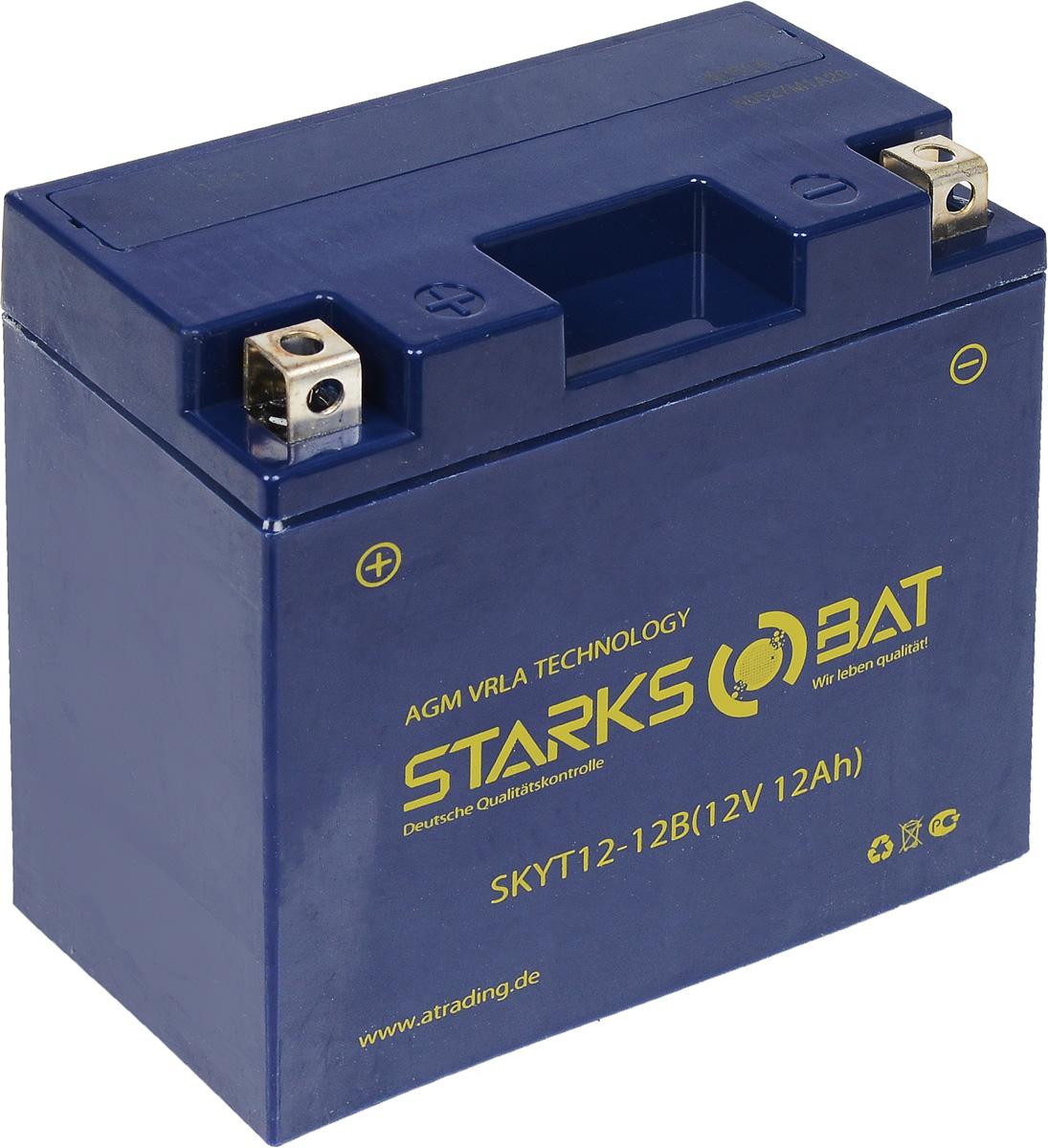 Батарея аккумуляторная для мотоциклов Starksbat. YT 12-12B (YT14B-BS)YT 12-12BАккумулятор Starksbat изготовлен по технологии AGM, обеспечивающей повышенный уровень безопасности батареи и удобство ее эксплуатации. Корпус выполнен из особо ударопрочного и морозостойкого полипропилена. Аккумулятор блестяще доказал свои высокие эксплуатационные свойства в самых экстремальных условиях бездорожья, высоких и низких температур. Аккумуляторная батарея Starksbat производится под знаменитым немецким контролем качества, что обеспечивает ему высокие пусковые характеристики и восстановление емкости даже после глубокого разряда. Напряжение: 12 В. Емкость: 12 Ач. Полярность: прямая (+ -). Ток холодной прокрутки: 160 Аh (EN).