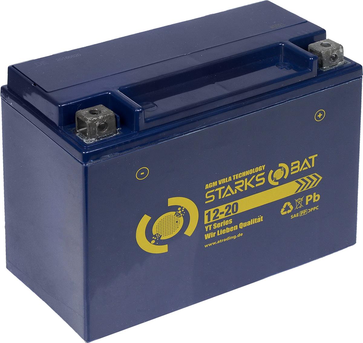 Батарея аккумуляторная для мотоциклов Starksbat. YT 12-20 (YTX24HL-BS)YT 12-20Аккумулятор Starksbat изготовлен по технологии AGM, обеспечивающей повышенный уровень безопасности батареи и удобство ее эксплуатации. Корпус выполнен из особо ударопрочного и морозостойкого полипропилена. Аккумулятор блестяще доказал свои высокие эксплуатационные свойства в самых экстремальных условиях бездорожья, высоких и низких температур.Аккумуляторная батарея Starksbat производится под знаменитым немецким контролем качества, что обеспечивает ему высокие пусковые характеристики и восстановление емкости даже после глубокого разряда.Напряжение: 12 В.Емкость: 20 Ач.Полярность: обратная (- +).Ток холодной прокрутки: 260 Аh (EN).
