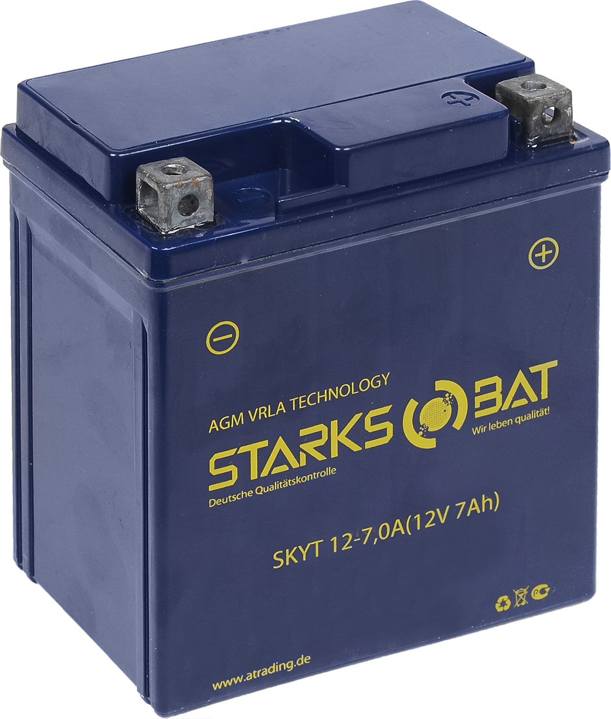 Батарея аккумуляторная для мотоциклов Starksbat. YT 12-7.0А (YTX7L-BS)YT 12-7.0AАккумулятор Starksbat изготовлен по технологии AGM, обеспечивающей повышенный уровень безопасности батареи и удобство ее эксплуатации. Корпус выполнен из особо ударопрочного и морозостойкого полипропилена. Аккумулятор блестяще доказал свои высокие эксплуатационные свойства в самых экстремальных условиях бездорожья, высоких и низких температур.Аккумуляторная батарея Starksbat производится под знаменитым немецким контролем качества, что обеспечивает ему высокие пусковые характеристики и восстановление емкости даже после глубокого разряда.Напряжение: 12 В.Емкость: 7 Ач.Полярность: прямая (+ -).Ток холодной прокрутки: 115 Аh (EN).