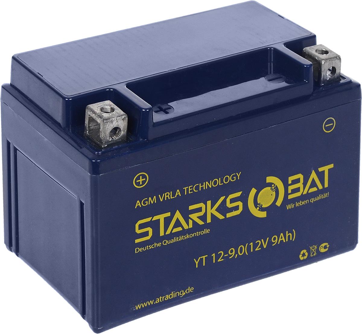Батарея аккумуляторная для мотоциклов Starksbat. YT 12-9.0 (YTX9-BS)YT 12-9.0Аккумулятор Starksbat изготовлен по технологии AGM, обеспечивающей повышенный уровень безопасности батареи и удобство ее эксплуатации. Корпус выполнен из особо ударопрочного и морозостойкого полипропилена. Аккумулятор блестяще доказал свои высокие эксплуатационные свойства в самых экстремальных условиях бездорожья, высоких и низких температур.Аккумуляторная батарея Starksbat производится под знаменитым немецким контролем качества, что обеспечивает ему высокие пусковые характеристики и восстановление емкости даже после глубокого разряда.Напряжение: 12 В.Емкость: 9 Ач.Полярность: прямая (+ -).Ток холодной прокрутки: 135 Аh (EN).