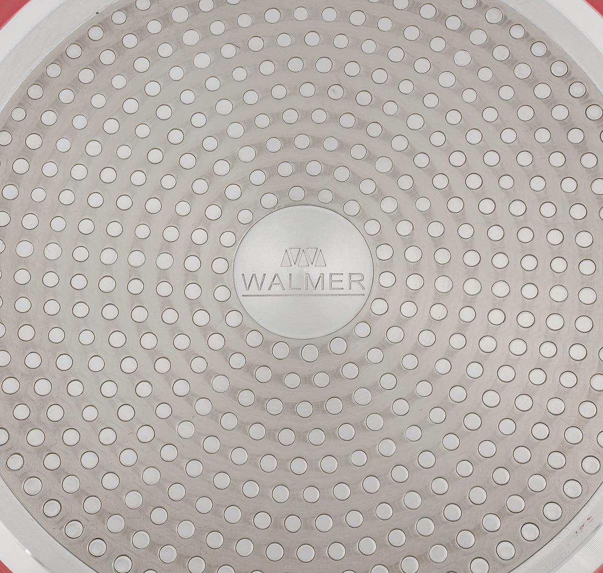 """Сковорода Walmer """"Rainbow"""" изготовлена из  кованого алюминия с антипригарным покрытием.  Утолщенное дно и стенки обеспечивают быстрый  и равномерный нагрев, а также не подвержены  деформации. Долговечное покрытие не  позволяет пище пригорать и прилипать к  стенкам.  Сковорода оснащена эргономичной бакелитовой  ручкой, которая обеспечивает максимальное  удобство и комфорт в использовании. Подходит для всех типов плит, включая  индукционные. Диаметр по верхнему краю: 28 см. Диаметр основания: 22 см.  Высота стенки: 5,5 см.  Толщина стенки: 3 мм. Толщина дна: 3 мм. Длина ручки: 19 см. Диаметр индукционного диска: 22 см."""