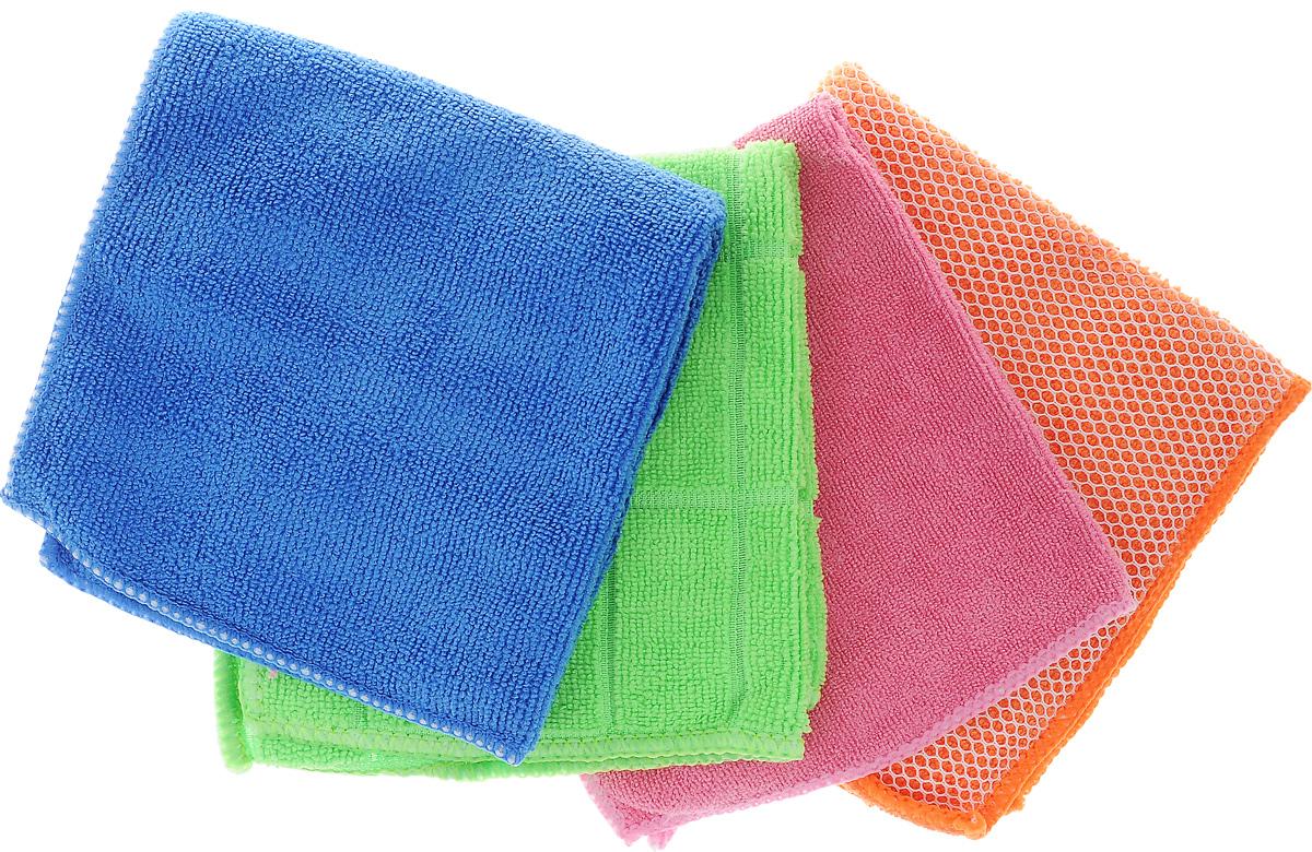 Набор салфеток Airline, для уборки, 30 х 30 см, 4 штAB-V-06_синий,оранжевый,розовый, салатовыйНабор многофункциональных салфеток Airline выполнен из высококачественного полиэстера и полиамида. Каждая нить после специальной химической обработки расщепляется на 12-16 клиновидных микроволокон. Микрофибровое полотно удаляет грязь с поверхности намного эффективнее, быстрее и значительно более бережно в сравнении с обычной тканью, что существенно снижает время на проведение уборки, поскольку отсутствует необходимость протирать одно и то же место дважды. Набор обладает уникальной способностью быстро впитывать большой объем жидкости. Клиновидные микроскопические волокна захватывают и легко удерживают частички пыли, микроорганизмы. Салфетки великолепно удаляют пыль и грязь. Протертая поверхность становится идеально чистой, сухой, блестящей, без разводов и ворсинок. Микрофибра устойчива к истиранию, ее можно быстро вернуть к первоначальному виду с помощью машинной стирки при малом количестве моющих средств. Состав: 80% полиэстер, 20% полиамид.