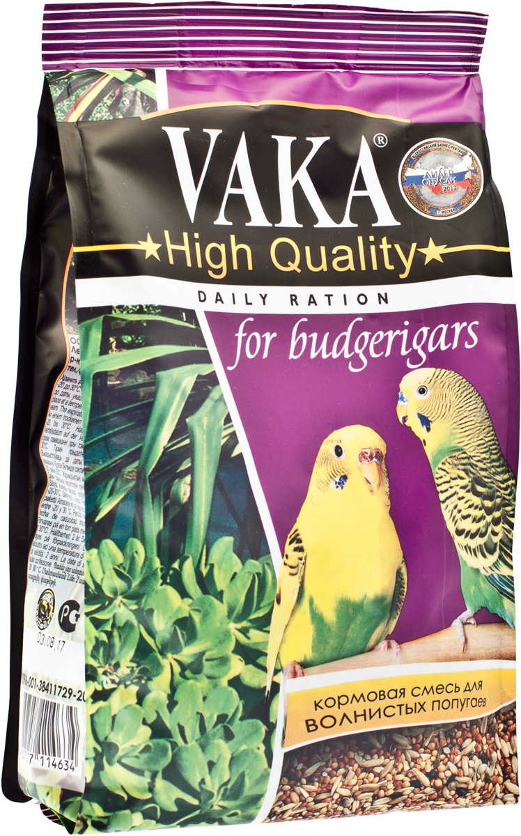 Корм для волнистых попугаев Вака High Quality, 500 г корм вака люкс для крупных попугаев 800 гр