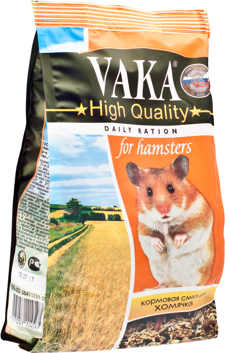 Корм для хомячков Вака High Quality, 500 г54915Содержащиеся в корме Вака High Quality компоненты обеспечат вашему любимцу крепкий иммунитет, здоровое потомство, красивую шубку и порадует вас долголетием вашего питомца. Содержащееся в корме льняное семя, наряду с пробиотиком – улучшит усвоение корма, нормализует пищеварение, повысит иммунитет. Травяные гранулы – принесут вашему любимцу всю пользу свежескошенных трав. Семена полосатого подсолнечника – станут дополнительным источником энергии, при этом, благодаря своим свойствам, бережно защитят вашего любимца от чрезмерного ожирения. Тыквенное семя – как натуральный антигельментик, очистит организм хомячка от внутренних паразитов. Сушеные овощи и орехи – заставят вашего питомца зажмуриться от удовольствия и обогатят организм витаминами.Состав: травяные гранулы (злаковые культуры, клевер, вика, люцерна), комбикорм гранулированный (отруби пшеничные, льняное семя, костная мука, соль йодированная, дрожжи пивные и хлебные, витаминный комплекс), пшеница, овес, ячмень, подсолнух полосатый, кукуруза, льняное семя, вика, просо белое, суданка, орехи, тыквенное семя, сушеные фрукты овощи, пробиотик.Товар сертифицирован.