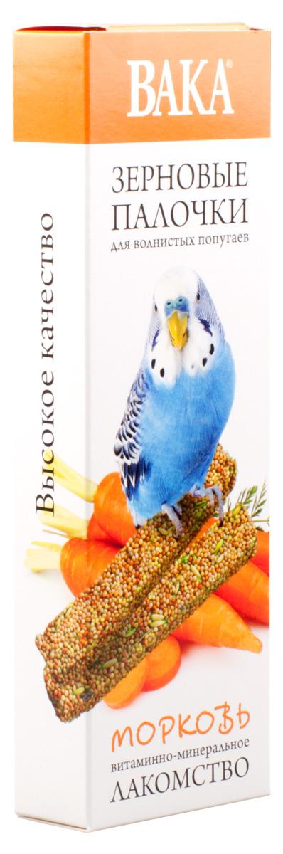 Лакомство Вака для волнистых попугаев, палочки с морковью, 2 шт padovan лакомство для волнистых попугаев и экзотических птиц stix herbs палочки антистрессовые