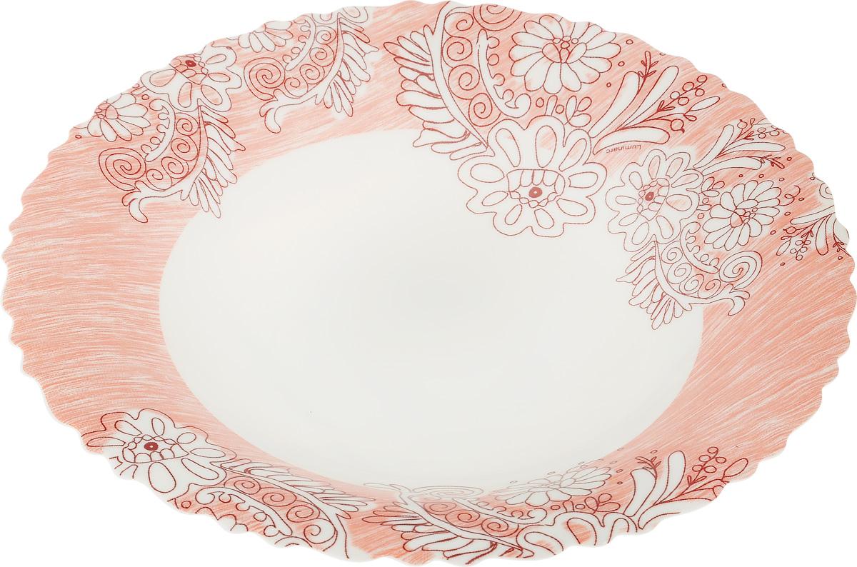 Тарелка глубокая Luminarc Minelly Pink, диаметр 23 смJ7034Глубокая тарелка Luminarc Minelly Pink выполнена из ударопрочного стекла и имеет классическую круглую форму. Она прекрасно впишется в интерьер вашей кухни и станет достойным дополнением к кухонному инвентарю. Тарелка Luminarc Minelly Pink подчеркнет прекрасный вкус хозяйки и станет отличным подарком. Диаметр тарелки (по верхнему краю): 23 см.