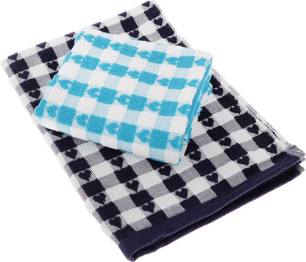 Набор кухонных полотенец Toalla Сердечки, цвет: фиолетовый, голубой, 50 x 70 см, 2 шт kitchenaid набор прямоугольных чаш для запекания 0 45 л 2 шт красные
