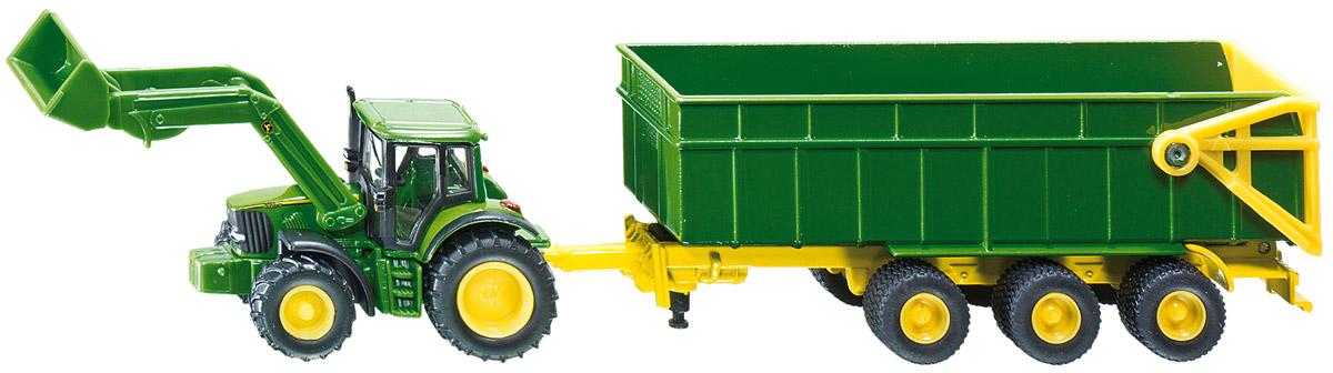 Siku Трактор John Deere с ковшом и прицепом-кузовом трактор с прицепом св ход 36см dickie