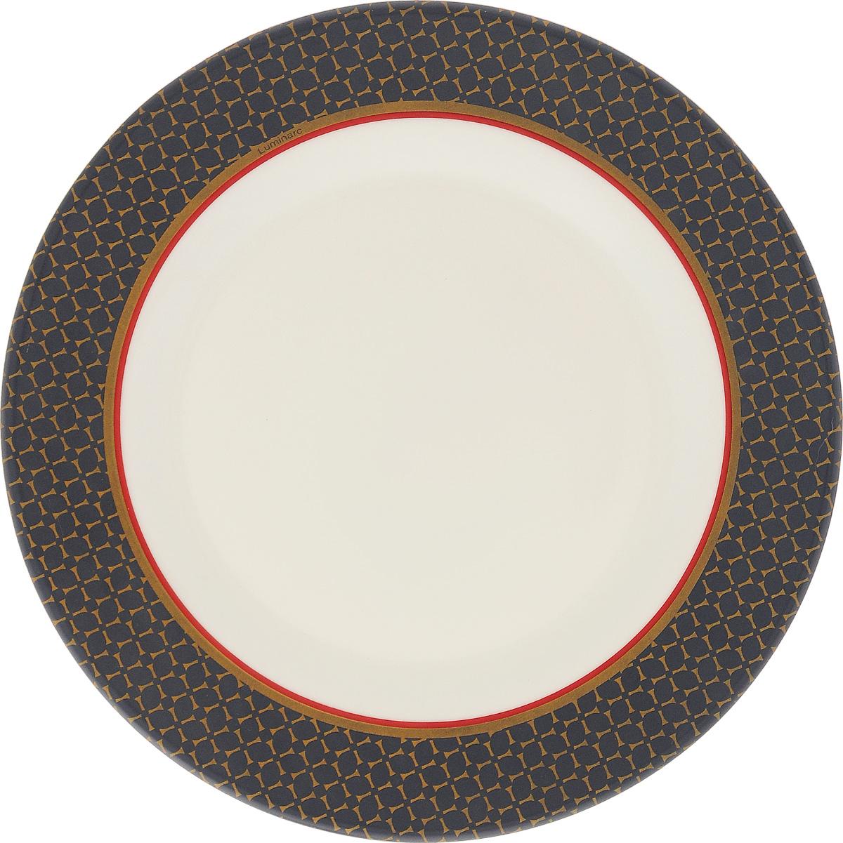Тарелка десертная Luminarc Alto Saphir, 20,5 смJ1932Десертная тарелка Luminarc Alto Saphir, изготовленная из ударопрочного стекла, имеет изысканный внешний вид. Такая тарелка прекрасно подходит как для торжественных случаев, так и для повседневного использования. Идеальна для подачи десертов, пирожных, тортов и многого другого. Она прекрасно оформит стол и станет отличным дополнением к вашей коллекции кухонной посуды. Диаметр тарелки (по верхнему краю): 20,5 см.