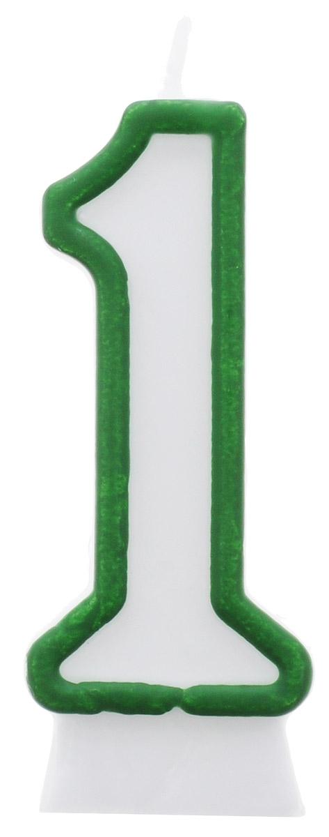 Susy Card Свеча-цифра для торта 1 год цвет зеленый, Herlitz