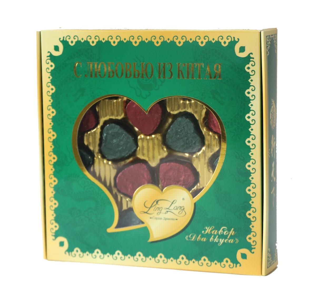 Ling Long Подарочный набор листового чая, 2 вкуса, 80 гLL402Подарочный набор Ling Long Два вкуса станет отличным подарком друзьям или близким.В состав набора входят 2 вида чая:Изумрудное сердце дракона (чай зеленый байховый китайский крупнолистовой)Золотое сердце дракона (чай черный Пуэр байховый китайский крупнолистовой).
