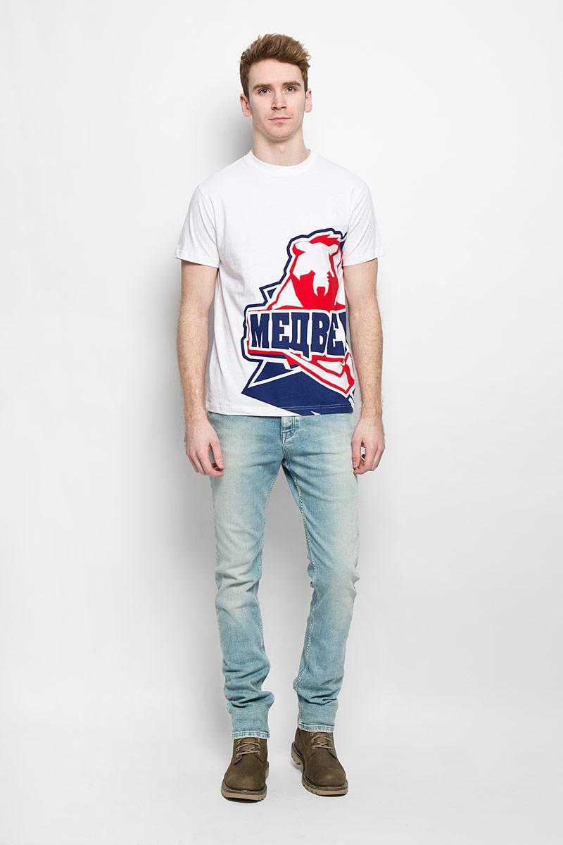 цена Футболка мужская Robin Ruth Медведи, цвет: белый, синий, красный. MV-003. Размер XXL (52/54) онлайн в 2017 году