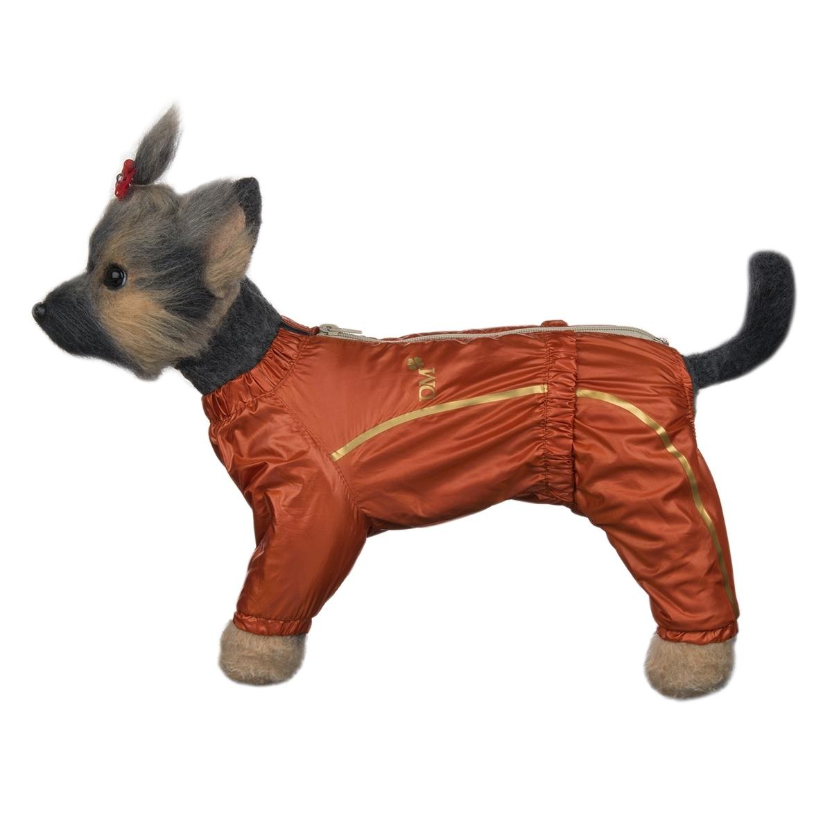 Комбинезон для собак Dogmoda Альпы, для девочки, цвет: оранжевый. Размер 2 (М). DM-160102DM-160102-2_оранжКомбинезон для собак Dogmoda Альпы отлично подойдет для прогулок поздней осенью или ранней весной.Комбинезон изготовлен из полиэстера, защищающего от ветра и осадков, с подкладкой из вискозы и полиэстера, которая сохранит тепло и обеспечит отличный воздухообмен.Комбинезон застегивается на молнию и липучку, благодаря чему его легко надевать и снимать. Ворот, низ рукавов и брючин оснащены внутренними резинками, которые мягко обхватывают шею и лапки, не позволяя просачиваться холодному воздуху. На пояснице имеется внутренняя резинка. Изделие декорировано золотистыми полосками и надписью DM.Благодаря такому комбинезону простуда не грозит вашему питомцу и он не даст любимцу продрогнуть на прогулке.Длина по спинке: 24 см.Объем груди: 39 см.Обхват шеи: 25 см.