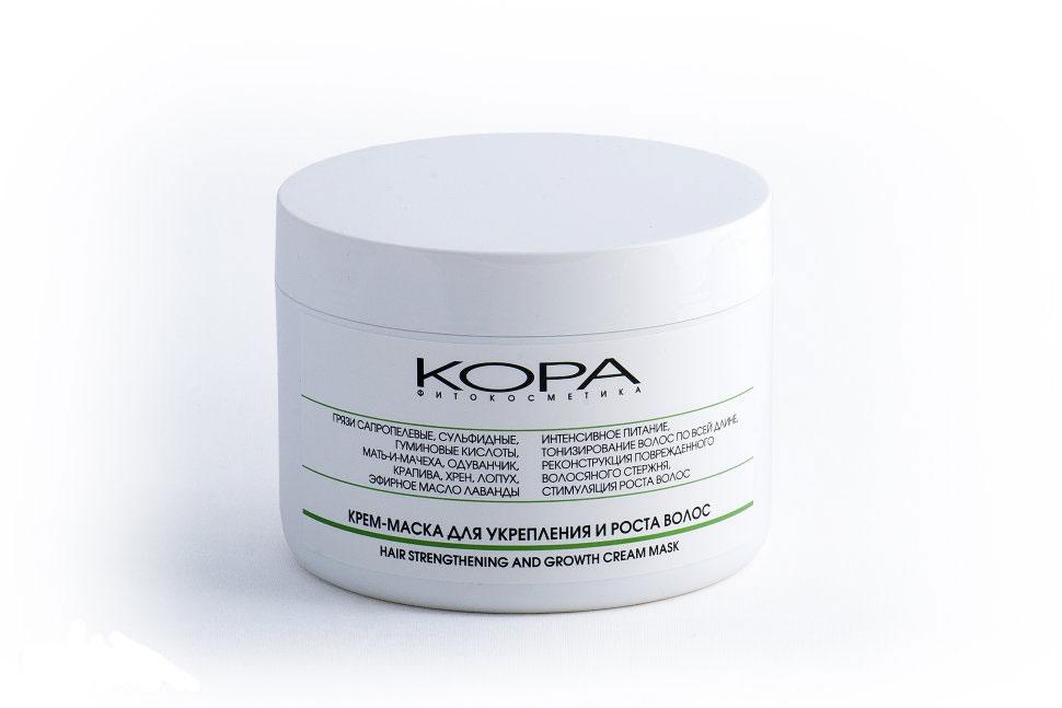KORA Крем-маска для укрепления и роста волос, 300 мл5408Уникальные по составу черные сапропелевые грязи содержат высокий процент гуминовых кислот, микроэлементов, витаминов группы В, фолиевой кислоты, необходимых для роста здоровых и красивых волос. В сочетании с комплексом фитокомпонентов, традиционно применяемых для ухода за ослабленными волосами, лечебные грязи глубоко очищают кожу головы и волосяные каналы от жира и загрязнений, питают, укрепляют луковицу волоса, нормализуют работу сальных желез, улучшают структуру волос, стимулируют их рост. Растительные экстракты успокаивают раздраженную кожу головы, обладают витаминизирующим действием, препятствуют появлению перхоти. Эфирное масло лаванды обладает дезинфицирующим свойством, очищает и успокаивает кожу.