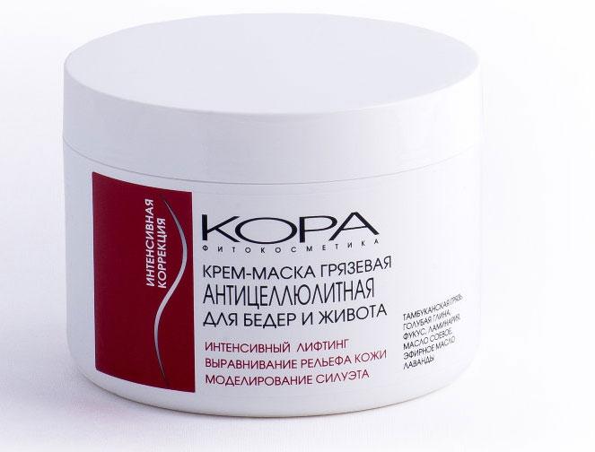 KORA Крем-маска грязевая антицеллюлитная для бедер и живота, 300 мл4305Крем-маска обладает высокой проникающей способностью. Тамбуканская сульфидная грязь стимулирующе воздействует на кожу. Богатая минеральными веществами, она является природным иммуностимулятором. Также компоненты грязи ускоряют процесс липолиза в подкожной клетчатке. Экстракты водорослей отвечают за тонизирование, глубокое увлажнение кожи. Ламинария и фукус предотвращают потерю кожей влаги. В результате приостанавливается процесс увядания. Кожа постепенно разглаживается, восстанавливая естественный тургор. Под воздействием морских минералов и хлорофилла, содержащегося в экстракте водорослей, проявления целлюлита уменьшаются. Поверхность проблемных зон тела становится более гладкой. Кожа приобретает эластичность, упругость.Лавандовое масло оказывает успокаивающее действие.