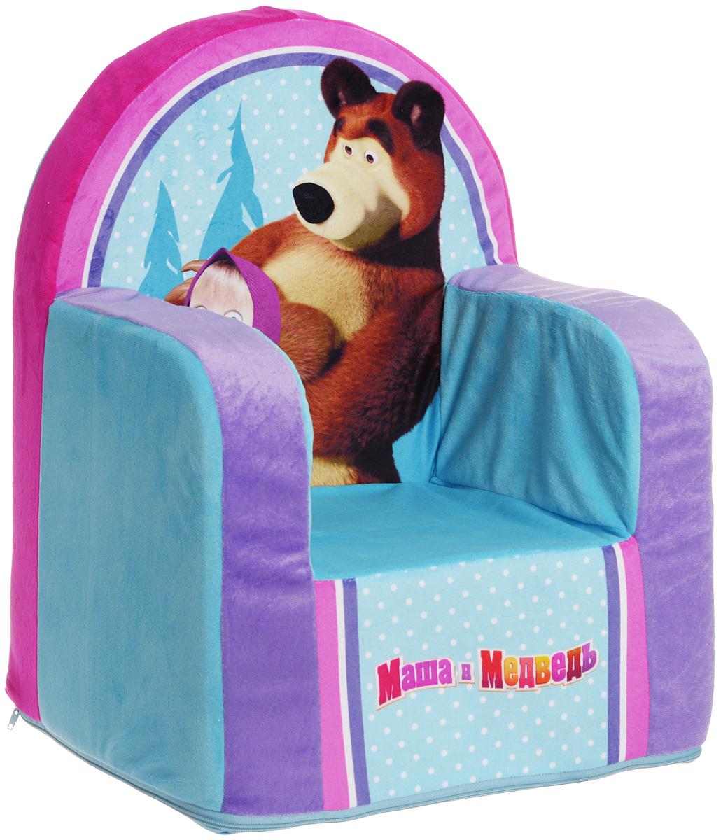 СмолТойс Мягкая игрушка Кресло Маша и Медведь цвет голубой 54 см смолтойс мягкое кресло скругленное маша и медведь смолтойс розовый
