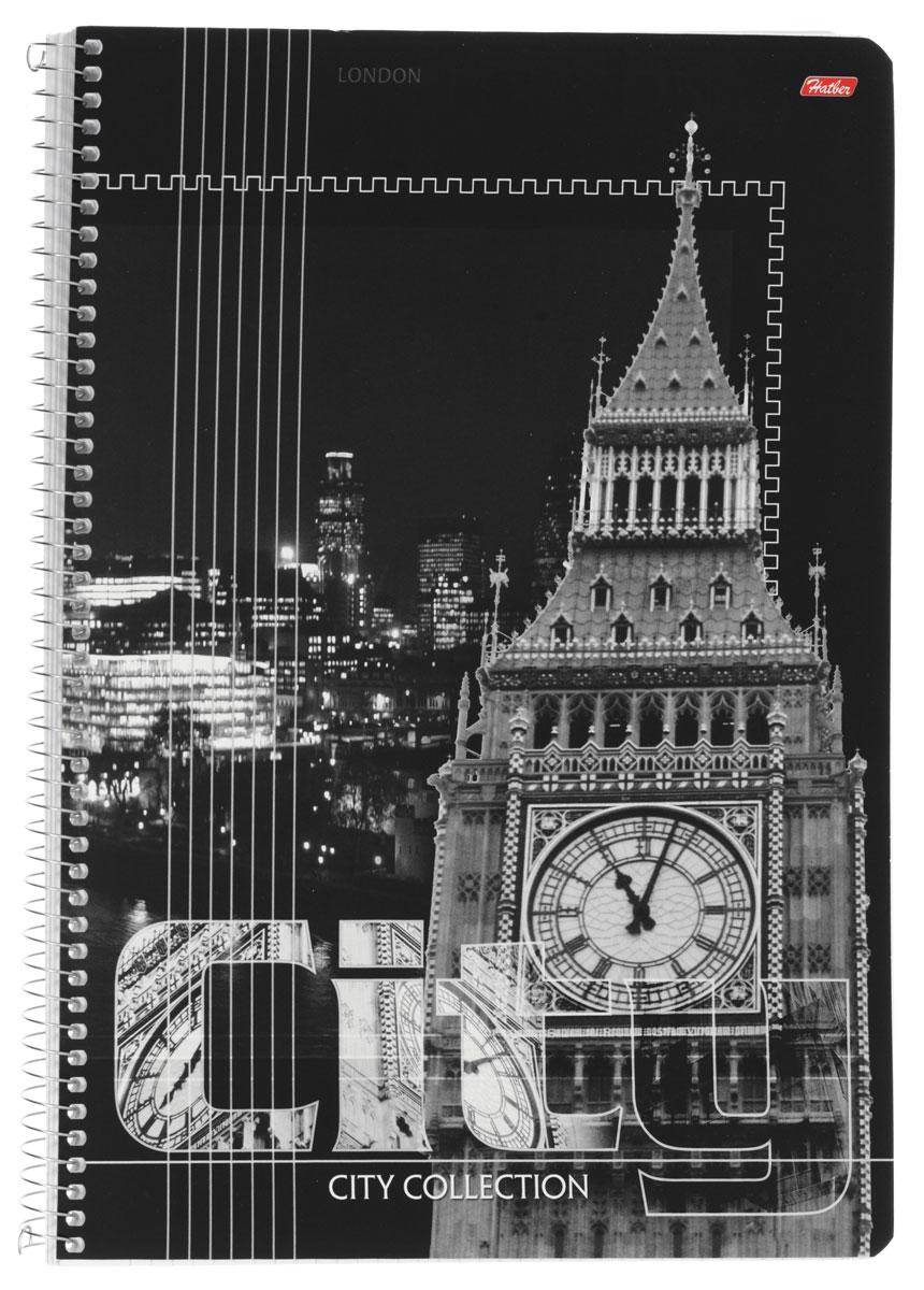 Hatber Тетрадь City Collection London 80 листов в клетку80Т4вмB1сп_LondonТетрадь Hatber City Collection. London отлично подойдет для занятий как школьнику старших классов, так и студенту.Стильная обложка в черно-белых тонах с изображением Биг Бэна, выполненная из плотного мелованного картона, позволит сохранить тетрадь в аккуратном состоянии на протяжении всего времени использования.Внутренний блок тетради, соединенный металлической спиралью, состоит из 80 листов белой бумаги в голубую клетку без полей.