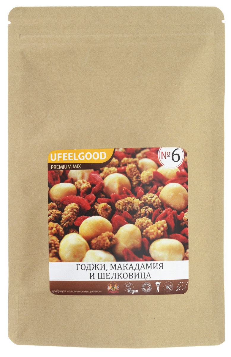 UFEELGOOD Premium Mix №6 (годжи, макадамия, шелковица), 100 г90Трейл-микс UFEELGOOD Premium Mix №6 (годжи, макадамия,шелковица) – это смесь, которая содержит в себе редкие, но очень полезные ягоды и орехи.Годжи. Кладезь йода, из-за недостатка которого могут развиваться болезни щитовидной железы. Благотворно влияет на качество крови, снижает риск заболевания раком.Макадамия. Очень вкусный, дорогой австралийский орех. Находка для борьбы с проблемной кожей, выводит излишний холестерин из организма.Шелковица. Вкусная ягода, которая помимо этого обладает прекрасными питательными свойствами и полна полезными веществами. Так, благодаря бета-каротину снижается риск получить инсульт. Калий и магний укрепляют сердечно-сосудистую систему, а антиоксиданты продлевают молодость.