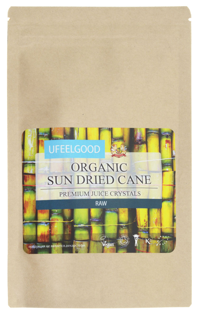 UFEELGOOD Organic Sun Dried Cane Juice Cristal сок сахарного тросника высушенный на солнце, 100 г good dried organic kiwi fruit juice powder 1kg