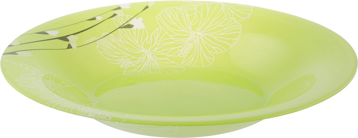 Тарелка глубокая Luminarc Rhapsody Green, диаметр 21,5 смH8552Глубокая тарелка Luminarc Rhapsody Green выполнена из ударопрочного стекла и украшена цветочным изображением. Изделие сочетает в себеизысканный дизайн с максимальной функциональностью. Она прекрасно впишется в интерьер вашей кухни и станет достойным дополнением к кухонному инвентарю. Тарелка Luminarc Rhapsody Green подчеркнет прекрасный вкус хозяйки и станет отличным подарком. Диаметр тарелки по верхнему краю: 21,5 см.
