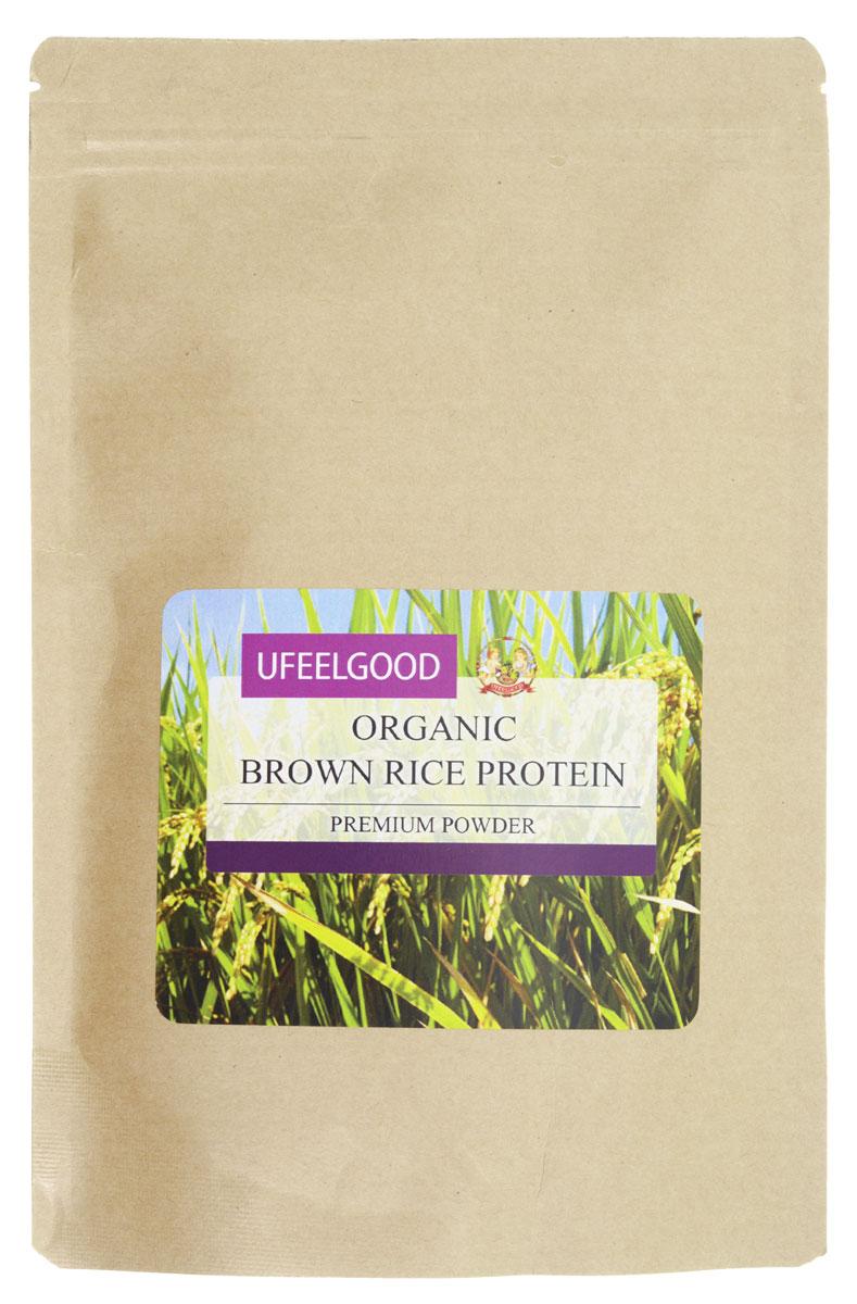 UFEELGOOD Organic Brown Rice Protein органический рис коричневый молотый, 200 г ufeelgood organic hemp premium seeds конопляные семена очищенные 150 г