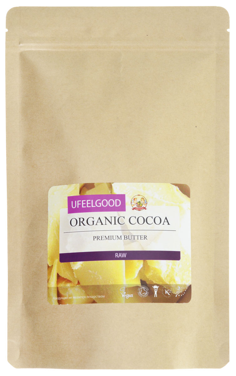 UFEELGOOD Organic Cocoa Premium Butter органическое какао масло, 200 г шатура пуф кабан croco cocoa kvs218 какао