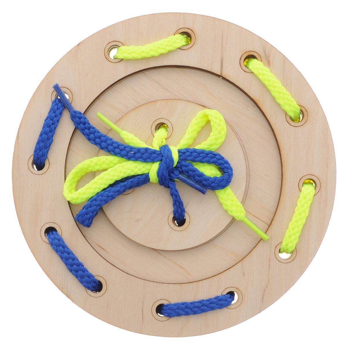 Мастер Вуд Игра-шнуровка Пуговичка цвет синий желтый мастер вуд игра шнуровка пуговичка цвет синий желтый