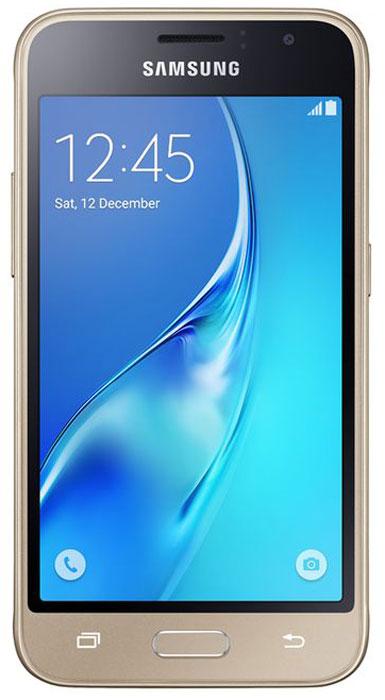 Samsung SM-J120F Galaxy J1 (2016), GoldSM-J120FZDDSERSamsung Samsung SM-J120F Galaxy J1 - это гармония стиля и функциональности. Закругленные края подчеркивают простой, но элегантный и современный дизайн, а толщина корпуса в 8,9 мм обеспечивает удобство в использовании!Яркие впечатления от просмотраЯркие впечатления от просмотра на 4,5 экране. Он отличается широкой палитрой воспроизводимых цветов. Благодаря обновленному дизайну экран выглядит шире, а воспроизводимые изображения очень реалистичны.Яркие и четкие фотографии:5-мегапиксельная основная камера с диафрагмой f/2.2 - гарантия отличных снимков.Емкий аккумулятор:Аккумулятор с емкостью 2050 мАч позволит оставаться на связи дольше обычного. Разрядился аккумулятор? Нет проблем! Режим максимального энергосбережения позволит продлить работу вашего смартфона.Повышенная производительность:4-ядерный 1,3 ГГц процессор и 1 ГБ оперативная память обеспечат мгновенную реакцию смартфона на любые ваши действия. Вы по достоинству оцените высокую скорость работы смартфона в приложениях.Удобное приложение Smart Manager:Приложение Smart Manager дает возможность управлять основными функциями и режимами вашего смартфона. Проверить состояние уровня заряда батареи, доступный объем памяти, использование оперативной памяти и степень защищенности вашего смартфона.Телефон сертифицирован Ростест и имеет русифицированный интерфейс меню, а также Руководство пользователя.