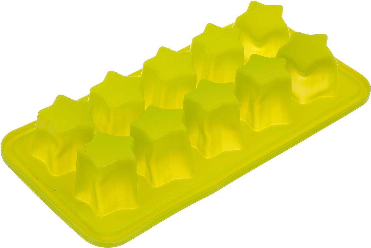 Форма для льда Calve Звездочки, цвет: салатовый, 22,5 х 11 х 4 смCL-4558Форма для льда Calve Звездочки выполнена из силикона. На одном листе расположены 10формочек в виде звездочек. Благодаря тому, что формочки изготовлены из силикона, готовый лед вынимать легко и просто. Чтобы достать льдинки, эту форму не нужно держать под теплой водой или использовать нож. Теперь на смену традиционным квадратным пришли новые оригинальные формы для приготовления фигурного льда, которыми можно не только охладить, но и украсить любой напиток. В формочки при заморозке воды можно помещать ягодки, такие льдинки не только оживят коктейль, но и добавят радостного настроения гостям на празднике. Замораживание до -40 С.Подходит для чистки в посудомоечной машине. Не использовать для чистки абразивными средствами, скребки, щетки. Общий размер формы: 22,5 х 11 х 4 см.Размер ячейки: 3 х 3 х 4 см.