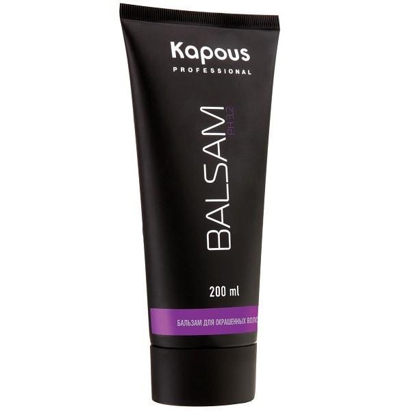 Kapous Professional Бальзам для окрашенных волос 200 мл49Бальзам Kapous для бережного ухода за окрашенными волосами придает волосам объем, блеск и жизненную силу, оживляет цвет и предотвращает сечение волос. Особая формула бальзама содержит инновационный стабилизатор цвета, поддерживающий интенсивность цвета и продлевающий стойкость окраски.Эфирные масла, входящие в состав бальзама смягчают, тонизируют и глубоко восстанавливают волосы от корней до самых кончиков. Масло макадамии оказывает эффективное защитное действие и способствует длительному сохранению насыщенного цвета и блеска окрашенных волос.Благодаря экстрактам листьев оливы регулируется жировой баланс, водный и минеральный обмен клеток кожи головы. Антистатическое действие бальзама способствует легкому расчесыванию, волосы приобретают мягкость. Солнечные фильтры защищают волосы от негативного воздействия внешних факторов и преждевременного выгорания цвета.Оптимальный для кожи уровень рН — 3,2 позволяет использовать его абсолютно для всех типов волос.Результат: Регулярное использование бальзама сделает волосы удивительно мягкими, блестящими, шелковистыми и наполнит их природной силой и красотой.