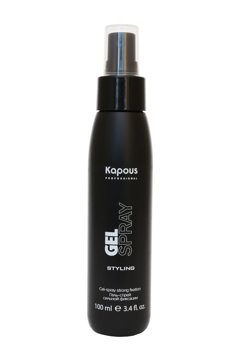 Kapous Гель-спрей для волос сильной фиксации Styling Gel-spray Strong Fixation 100 мл86Гель-спрей сильной фиксации Kapous для укладки волос обеспечивает фиксацию от средней до сильной степени, придаёт объем и блеск, не делая волосы жесткими, подходит для всех типов волос. Более жидкий, чем обычный гель, он более равномерно распределяется по волосам, используется для придания объема у корней, а также идеален при укладке на бигуди для создания живых и упругих локонов и мокрого эффекта на волосах с химической завивкой.Рекомендуется использовать для тонких редких волос для придания прическе визуального объёма. Пантенол и полимеры улучшают структуру волос, придают блеск и здоровый вид, защищая волосы от вредного воздействия агрессивных факторов внешней среды.Гель-спрей - мягкое средство для ежедневного использования, не утяжеляет волосы и легко смывается.Результат: Легкая текстура этого гель-спрея позволяет сохранять форму прически в течение всего дня упругой и эластичной.