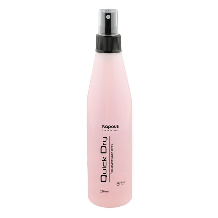 Kapous Professional Лосьон для сушки волос «Quick Dry» 250 млKap70Лосьон для сушки волос Quick Dry Kapous для ухода за поврежденными волосами, позволяет сократить время сушки феном. Идеально подходит для поврежденных, окрашенных, волос с химической завивкой, путанных и непослушных волос. Придаёт волосам шелковистость и блеск.Облегчает расчесывание волос. Используя лосьон после химической завивки или окраски, образуется защитная оболочка на волосах, которая предохраняет волосы от потери внутренних компонентов, а также поддерживает здоровое состояние волос. Проникая в поврежденные слои волоса, и защищая волосы от горячего воздуха фена, делает их послушными при расчесывании. Предотвращает возникновение статического электричества.Результат: Использование лосьона позволяет сократить время сушки волос феном на 35-50%.