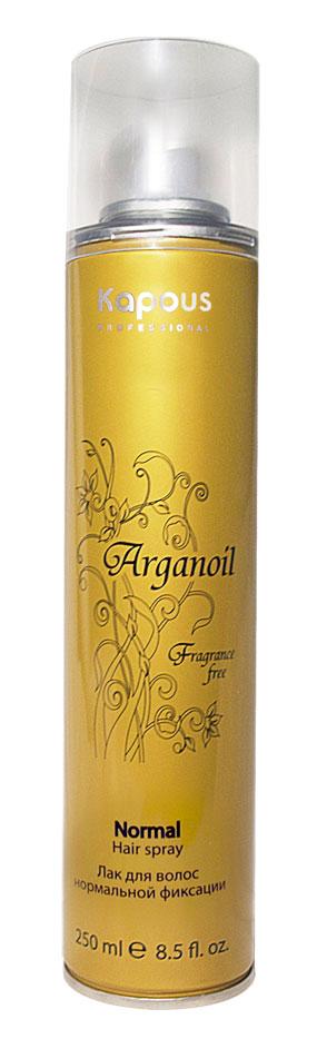 Kapous Лак аэрозольный для волос нормальной фиксации с маслом арганы Arganoil 250 млKap848Серия «Fragrance free» не имеет парфюмированных добавок. Лак для волос нормальной фиксации предназначен для создания подвижных и эластичных укладок. Благодаря уникальной формуле лак абсолютно сухой, обеспечивает мелкодисперсное распыление и надежную фиксацию. Масло Арганы придает волосам естественный блеск, предотвращает иссушение. УФ-фильтры защищают волосы от влияния окружающих факторов.