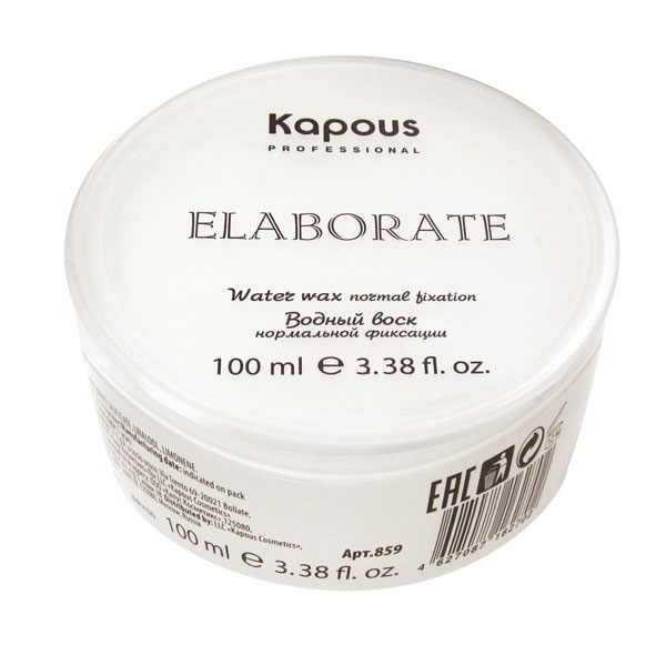 Kapous Professional Водный воск нормальной фиксации Elaborate100 млKap859/910Моделирующий воск на водной основе - незаменимый элемент для создания креативных укладок с восхитительными эффектами и акцентирования элементов стрижки.Позволяет конструировать любую форму, задавать направление, изменять стиль причёски в течение дня. Обеспечивает незримую пластичную фиксацию и блеск, благодаря специальным полимерам на основе кокосового масла, защищает волосы от внешних факторов.